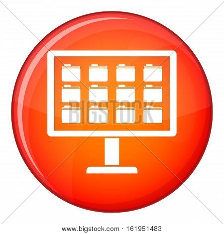 Desktop of computer with folders icon in red circle isolated on white background vector illustration