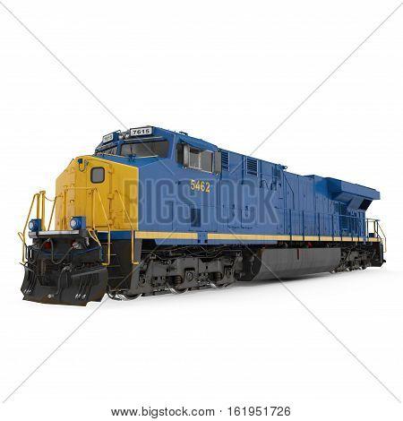 Modern locomotive isolated on white background. 3D illustration