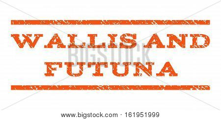 Wallis and Futuna watermark stamp. Text tag between horizontal parallel lines with grunge design style. Rubber seal stamp with scratched texture. Vector orange color ink imprint on a white background.