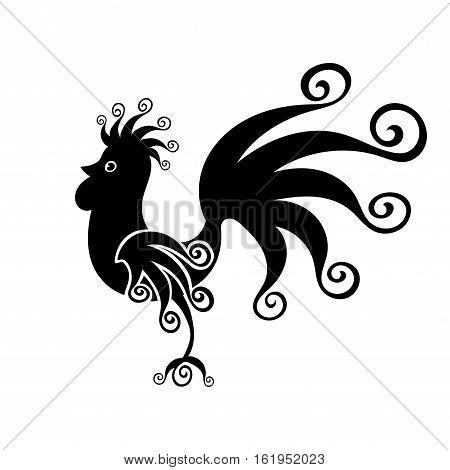 Cock black Vintage fabulous silhouette pattern bird. Vector illustration.