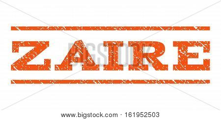 Zaire watermark stamp. Text tag between horizontal parallel lines with grunge design style. Rubber seal stamp with scratched texture. Vector orange color ink imprint on a white background.