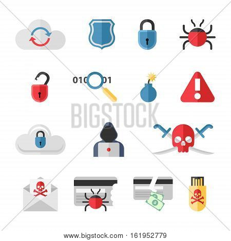 Hacker flat icons set with bug virus crack worm spam isolated vector illustration