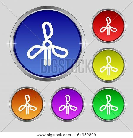 Wind Turbine Icon Sign. Round Symbol On Bright Colourful Buttons. Vector