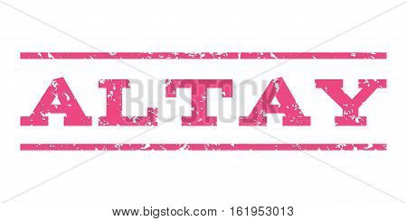 Altay watermark stamp. Text caption between horizontal parallel lines with grunge design style. Rubber seal stamp with dirty texture. Vector pink color ink imprint on a white background.