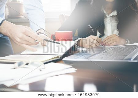 woman and man working in the office