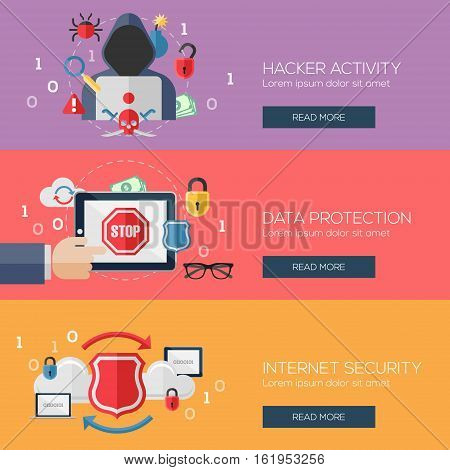 Flat design concepts for hacker activity, data protection, internet security, data storage. Concepts for web banners and promotional materials.