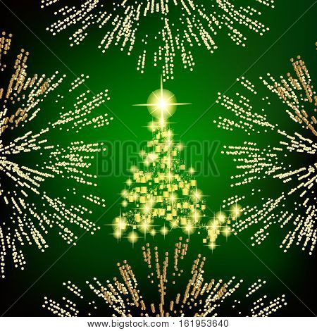 Abstract background with christmas tree, lines, stars and ornaments. Illustration in green and gold colors with gold placer in border.