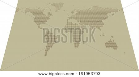 Isometric dotted map on khaki background with resolution 2000x1000 dots and all major earth continents - Eurasia North and South America Africa Australia. poster