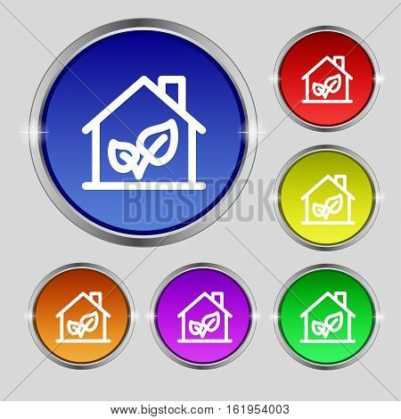 Bio Houses Icon Sign. Round Symbol On Bright Colourful Buttons. Vector