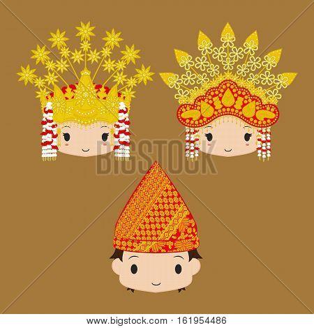 Vector of Palembang bride and groom character wearing traditional wedding headdress.