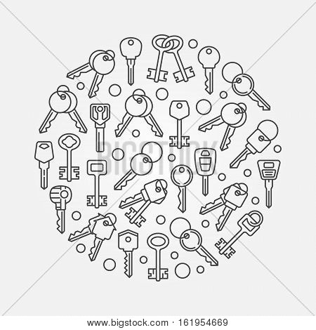 Keys round illustration. Vector thin line symbol made with outline car and house keys