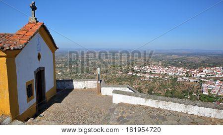 CASTELO DE VIDE, PORTUGAL: Aerial view ot the town from Nossa Senhora da Penha Chapel