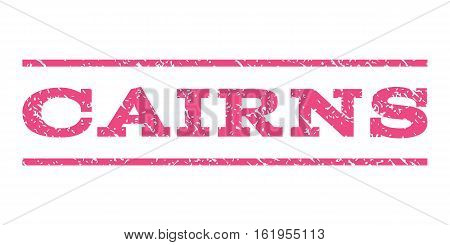 Cairns watermark stamp. Text caption between horizontal parallel lines with grunge design style. Rubber seal stamp with dirty texture. Vector pink color ink imprint on a white background.