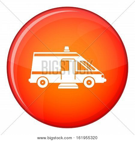 Ambulance icon in red circle isolated on white background vector illustration