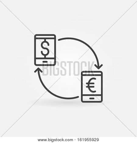 Smartphone currency converter icon. EUR to USD convert concept symbol or logo element in thin line style