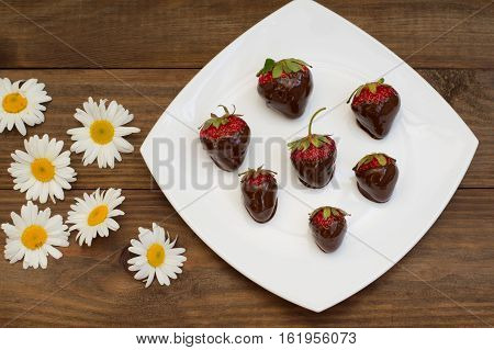 Strawberries dipped in chocolate on a white square plate. Wooden background. Top view
