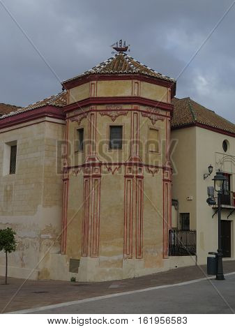 Malaga Spain. Wind vane depicting 15th or 16th century Spanish ship on roof of Church of Santo Domingo