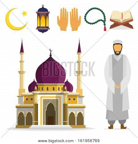 Set of Islamic religious symbols and ritual objects. Ramadan symbol. Muslim Mosque mullah an Islamic star and crescent lantern palms Koran beads. vector flat cartoon design. islam culture icons.