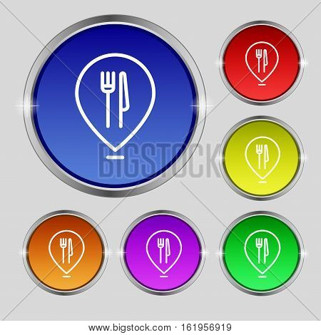 Map Pointer With Restaurant Icon Sign. Round Symbol On Bright Colourful Buttons. Vector