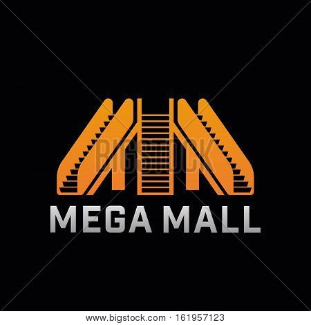 Logo of Mega Mall shop. Template logo of offline shop company with escalator. Vector symbol.