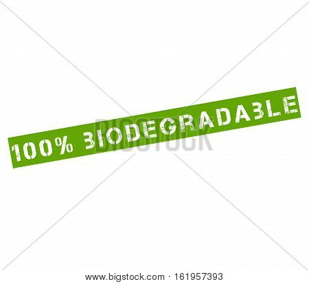 Rubber stamp label with text 100% biodegradable