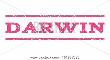 Darwin watermark stamp. Text caption between horizontal parallel lines with grunge design style. Rubber seal stamp with dust texture. Vector pink color ink imprint on a white background.