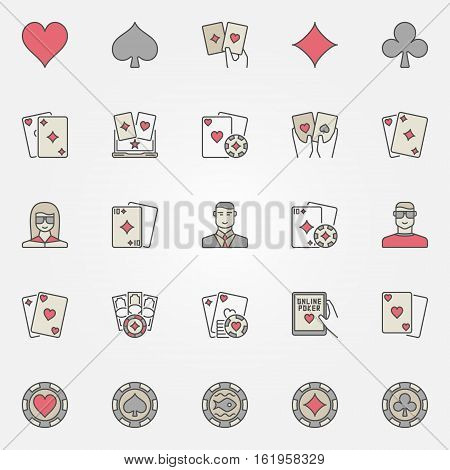 Texas hold em poker icons. Vector collection of poker chips, cards, players colorful creative gambling signs