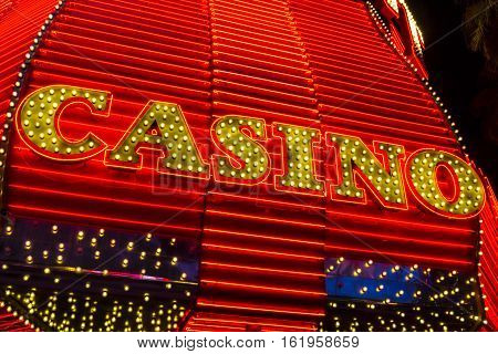 Las Vegas - Circa December 2016: Neon Casino Sign at the Fremont Street Experience. Fremont Street is the anchor of Downtown I