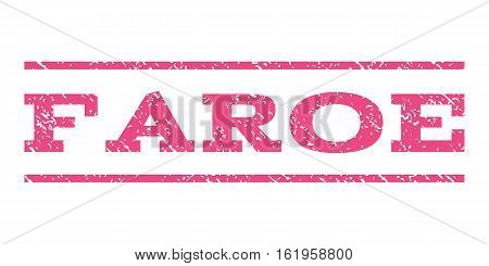 Faroe watermark stamp. Text tag between horizontal parallel lines with grunge design style. Rubber seal stamp with dust texture. Vector pink color ink imprint on a white background.