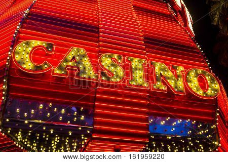 Las Vegas - Circa December 2016: Neon Casino Sign at the Fremont Street Experience. Fremont Street is the anchor of Downtown II