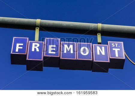 Las Vegas - Circa December 2016: Fremont Street Sign In Downtown, Leading To The Fremont Street Expe