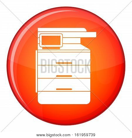 Multipurpose device, fax, copier and scanner icon in red circle isolated on white background vector illustration