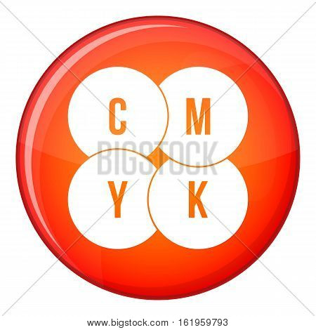 CMYK circles icon in red circle isolated on white background vector illustration