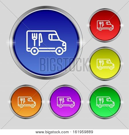 Food Truck Icon Sign. Round Symbol On Bright Colourful Buttons. Vector