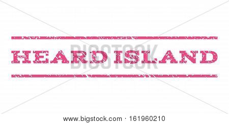 Heard Island watermark stamp. Text tag between horizontal parallel lines with grunge design style. Rubber seal stamp with dirty texture. Vector pink color ink imprint on a white background.