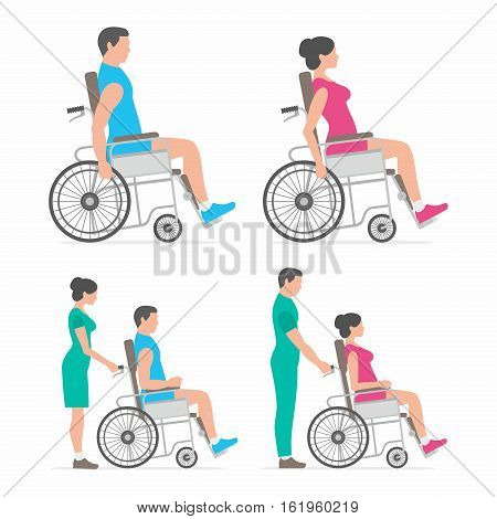 man and woman in wheelchair. positive doctor and patient on wheelchair