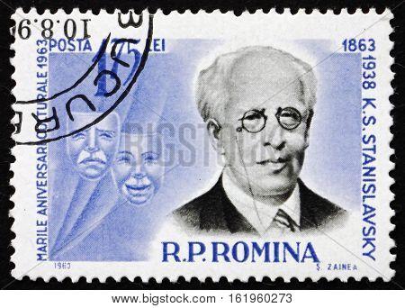 ROMANIA - CIRCA 1963: a stamp printed in Romania shows Konstantin Stanislavski Actor and Producer circa 1963