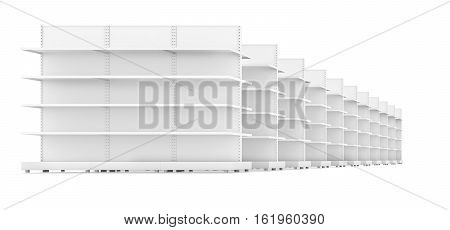 Racks with shelves isolated on white background. 3d rendering