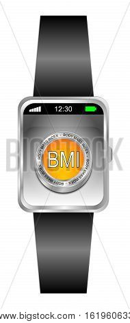 Smartwatch with BMI - orange Body Mass Index Button - 3D illustration