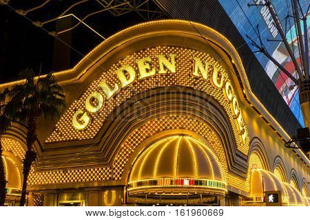 Las Vegas - Circa December 2016: Neon Exterior Of The Golden Nugget. The Golden Nugget Opened In 194