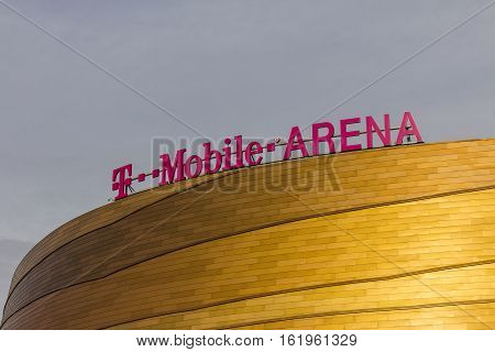 Las Vegas - Circa December 2016: The T-mobile Arena Located On The Strip. T-mobile Arena Will Be The