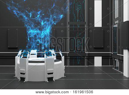 Render Futuristic interior. Hologram. Energy stream. Power UI interface touchscreen