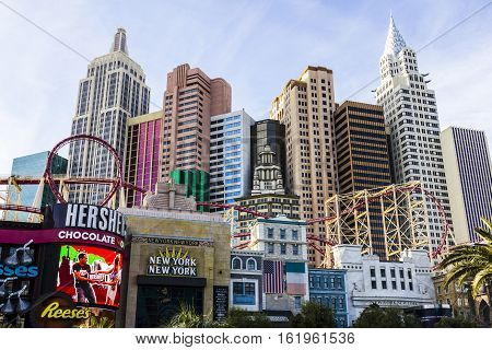 Las Vegas - Circa December 2016: Facade Of The New York-new York Hotel And Casino, Its Architecture