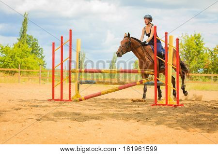 Taking care of animals horsemanship western competitions concept. Jockey young girl doing horse jumping through hurdle on sunny day