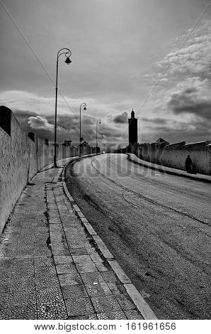 Streets of Rabat in Morocco Africa in black and white