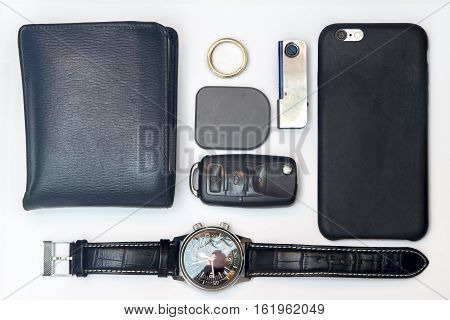 Every day carry man items collection isolated on white.