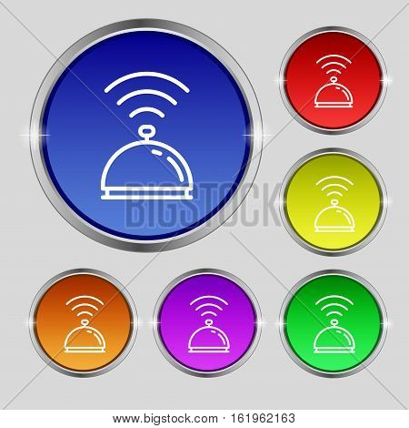 Tray Icon Sign. Round Symbol On Bright Colourful Buttons. Vector