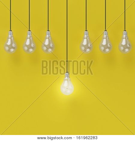 Idea concept : Creative light bulb Idea concept on yellow background flat lay minimal concept. 3D illustration