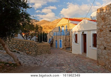 Halki village and mountains on Halki island, Greece.