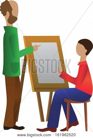 the drawing lesson, the teacher and student  Vector illustration it is maybe used for any professional project